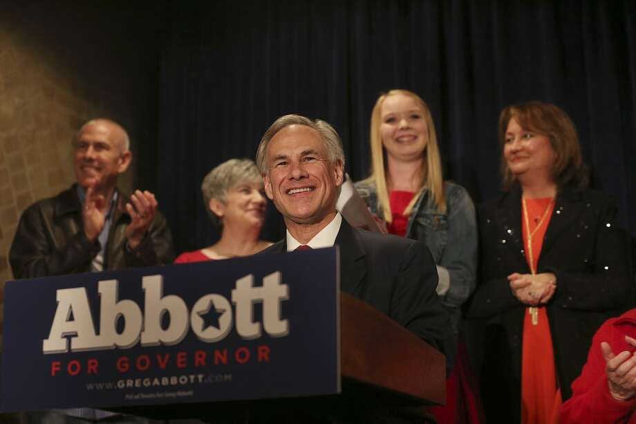 After winning the Republican nomination for Texas Governor, Texas Attorney General Greg Abbott is joined by family as he gives his acceptance speech at Aldaco's Sunset Station, Tuesday, March 4, 2014. He will face Democrat Wendy Davis in the November general election. In back are his brother, Gary Abbott, sister-in-law, Denise Abbott, his daughter Audrey and wife, Cecilia. Photo: Jerry Lara, San Antonio Express-News
