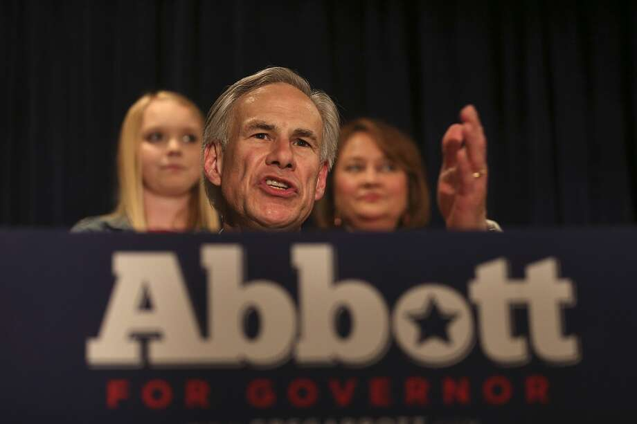 Texas Attorney General Greg Abbott is joined by family as he gives his acceptance speech at Aldaco's Sunset Station after winning the Republican nomination for Texas Governor, Tuesday, March 4, 2014. He will face Democrat Wendy Davis in the November general election. In back his daughter, Audrey, left, and his wife, Cecilia Phalen. Photo: Jerry Lara, San Antonio Express-News