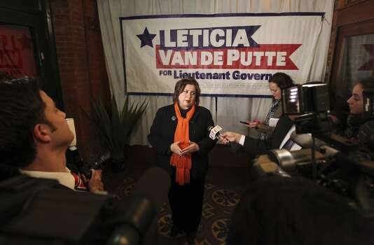 State Sen. Leticia Van de Putte, D-San Antonio answers questions during a press conference at Mi Tierra during her unopposed run for the Democratic nomination for lieutenant governor on Tuesday, Mar. 4, 2014. (Kin Man Hui/San Antonio Express-News) Photo: Kin Man Hui, San Antonio Express-News