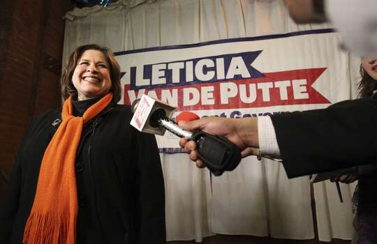 State Sen. Leticia Van de Putte, D-San Antonio beams during a press conference at Mi Tierra during her unopposed run for the Democratic nomination for lieutenant governor on Tuesday, Mar. 4, 2014. (Kin Man Hui/San Antonio Express-News) Photo: Kin Man Hui, San Antonio Express-News