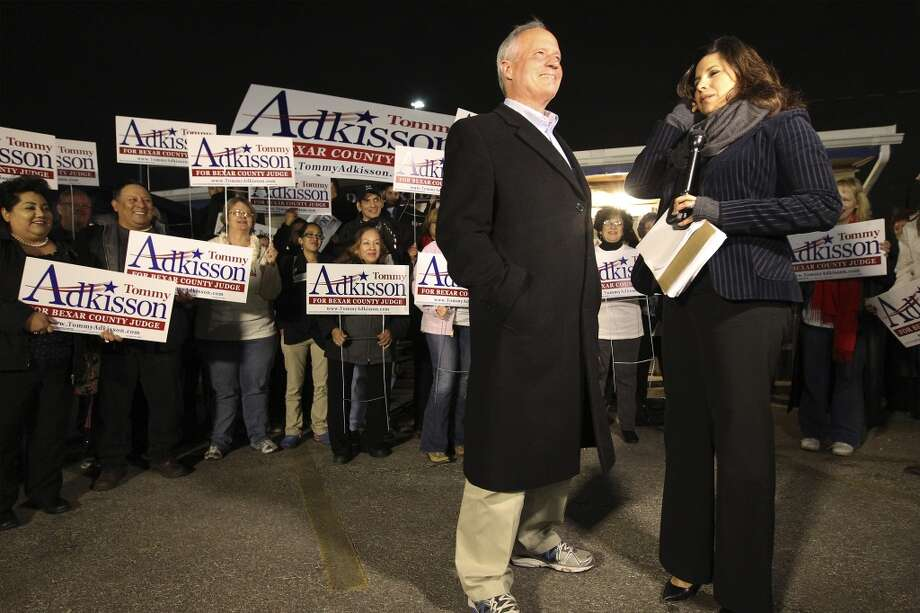 Bexar County Commissioner Tommy Adkisson prepares to be interviewed along with supporters at his campaign headquarters on Tuesday, Mar. 4, 2014. Adkisson ran against Bexar County Judge Nelson Wolff. (Kin Man Hui/San Antonio Express-News) Photo: Kin Man Hui, San Antonio Express-News