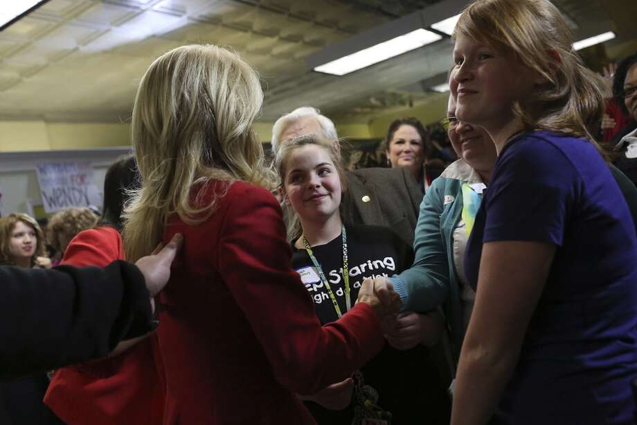 State Senator and Democratic gubernatorial candidate Wendy Davis greets supporters after her speech during the primary election watch party at her campaign headquarters in Fort Worth on Tuesday, March 4, 2014. Photo: Lisa Krantz, San Antonio Express-News