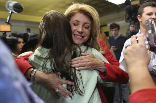 State Senator and Democratic gubernatorial candidate Wendy Davis greets supporters during the primary election watch party at her campaign headquarters in Fort Worth on Tuesday, March 4, 2014. Photo: Lisa Krantz, San Antonio Express-News