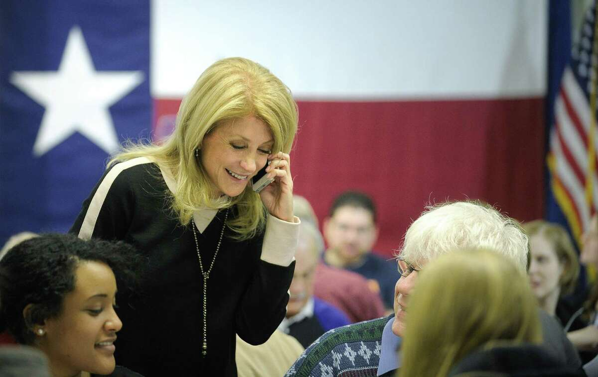 Gubernatorial candidate Wendy Davis makes an Election Day visit to her campaign phone bank.