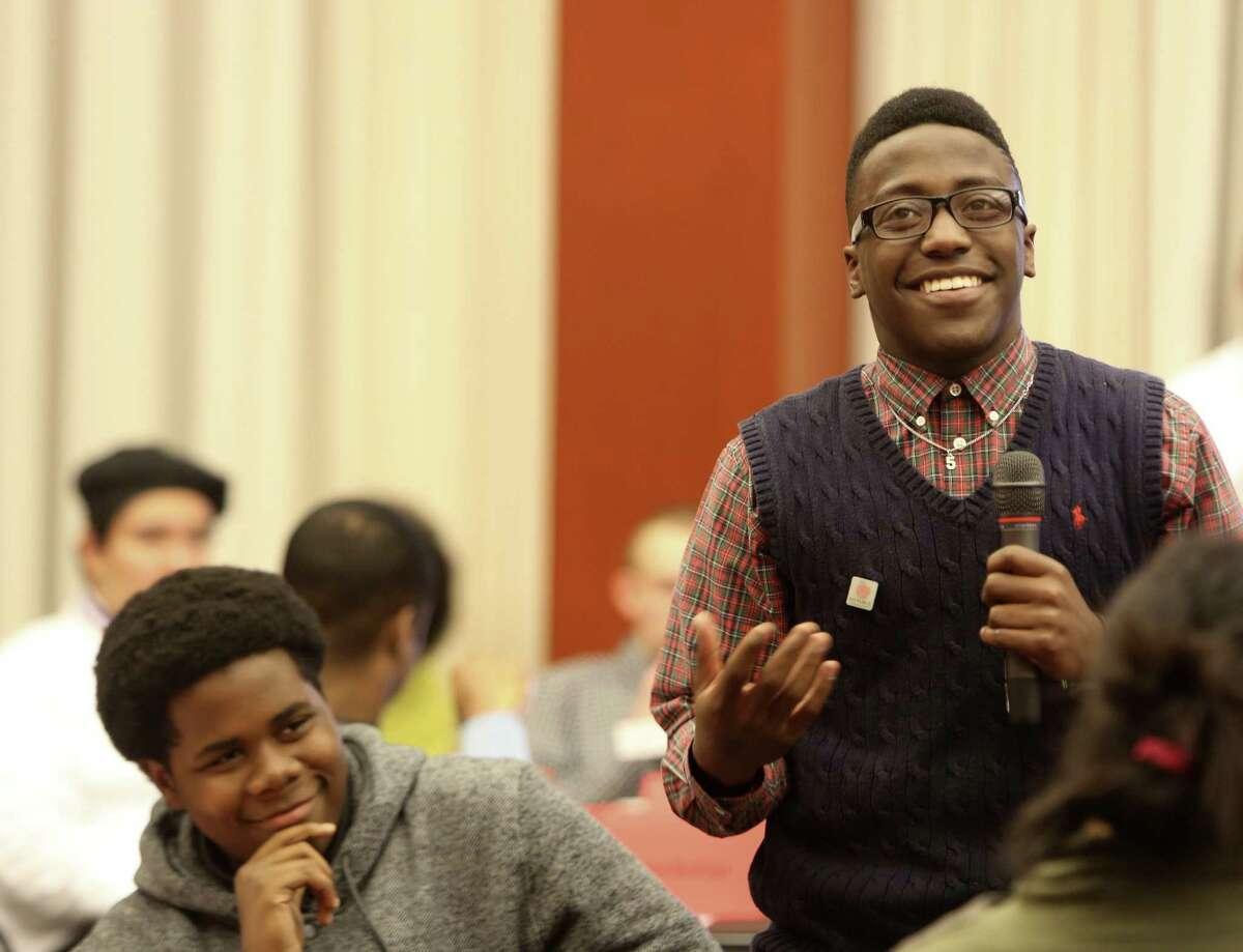 """Jauwan Hall speaks during University of Pennsylvania Professor Chris Phillips' """"Constitution Café"""" event. The premise is to assemble a group of people, usually over pastry and coffee, to discuss the Constitution as a living document."""