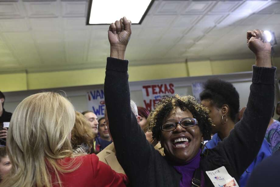 Regina Ray cheers after hugging State Senator and Democratic gubernatorial candidate Wendy Davis during the primary election watch party at her campaign headquarters in Fort Worth on Tuesday, March 4, 2014. Photo: SAN ANTONIO EXPRESS-NEWS
