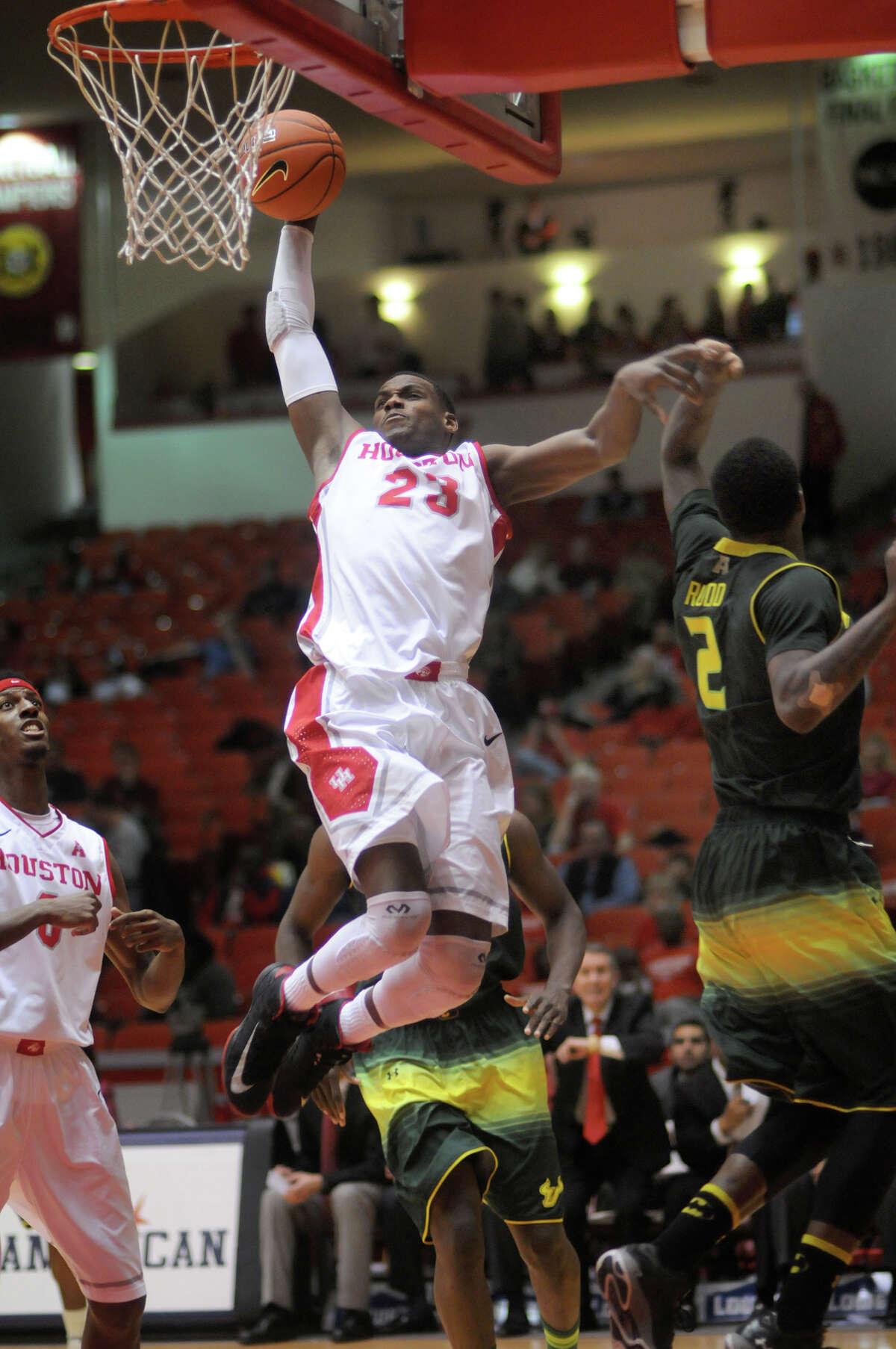 UH's Danuel House soars to two of his team-high 17 points Tuesday night.