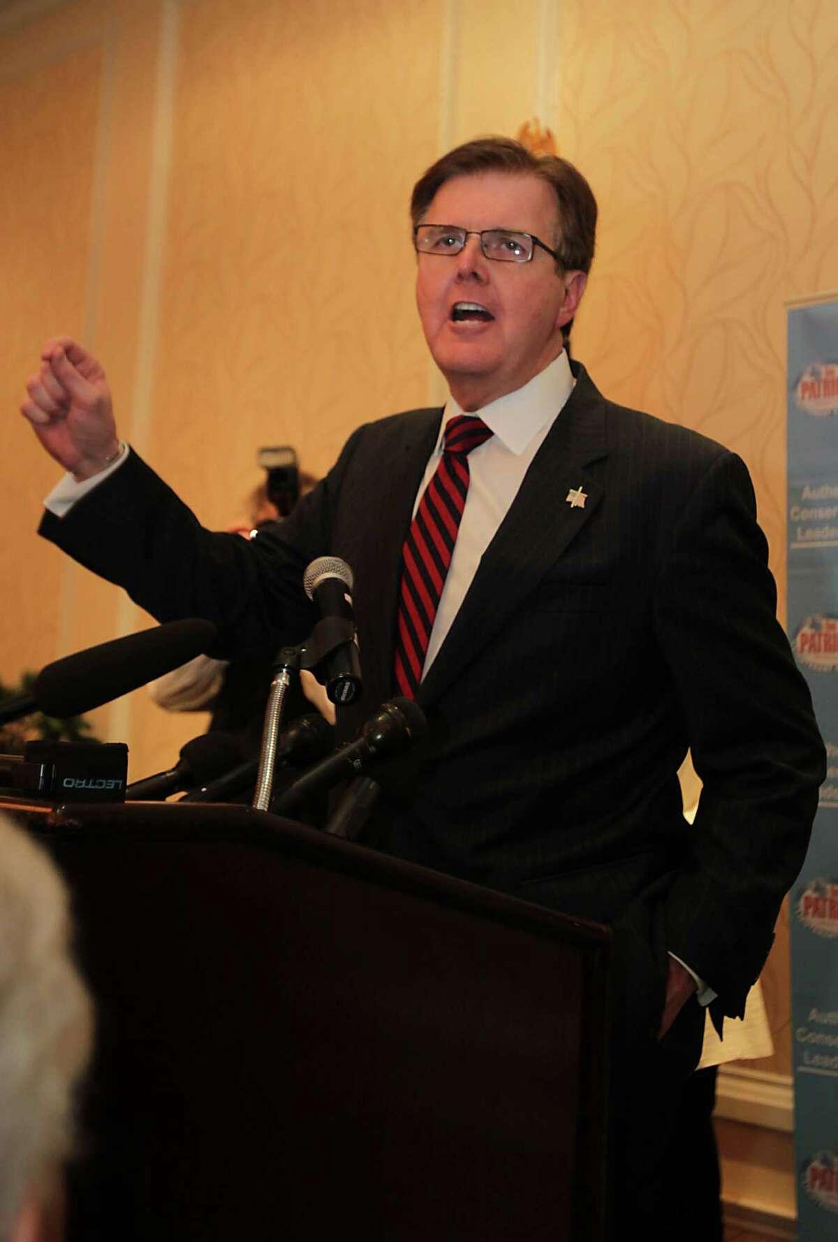 State Sen. Dan Patrick, above, will meet Lt. Gov. David Dewhurts in a Republican runoff on May 27.