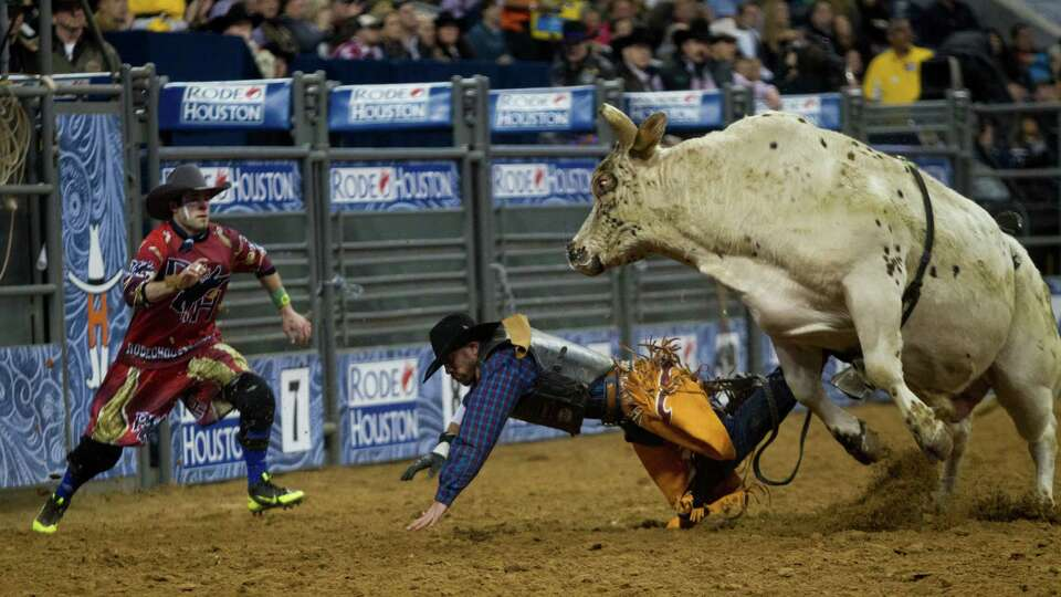 Michael Riggs falls on the Reliant Stadium arena while competing in the BP Super Series I Round 1 Bu