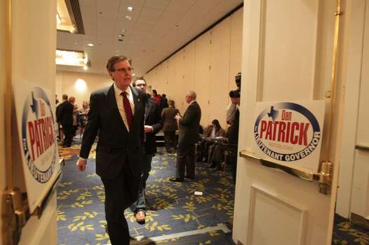 Dan Patrick temporarily leaves his election watch party after greeting supporters.  ( James Nielsen / Houston Chronicle ) Photo: James Nielsen, Houston Chronicle