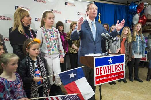 Texas lieutenant governor candidate Lt. Gov. David Dewhurst addresses supporters during an election night party at his Houston campaign headquarters on Tuesday, March 4, 2014, in Houston.  Dewhurst faces three Republican challengers for re-election in the primary. ( Smiley N. Pool / Houston Chronicle ) Photo: Smiley N. Pool, Houston Chronicle