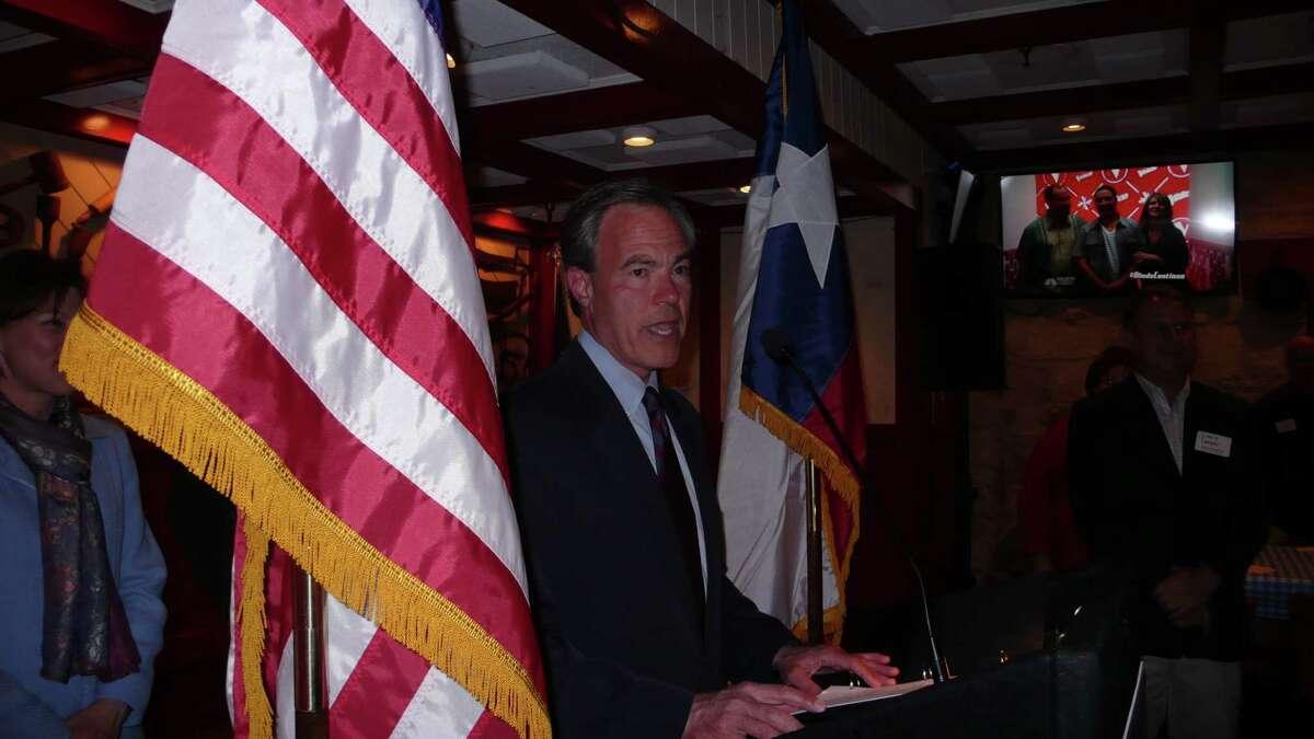 Texas House Speaker Joe Straus, R-San Antonio, declares victory Tuesday night in his District 121 race against Matt Beebe.