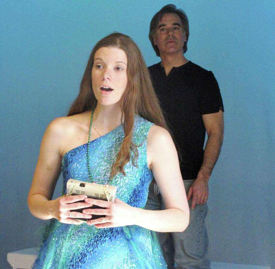 "Stamford's Sarah Smegal and Darien's Joseph Maker rehearse for the Darien Arts Center Stage play ""'Sirens,"" which opens Friday, March 14. Photo: Contributed Photo, Contributed / Darien News"