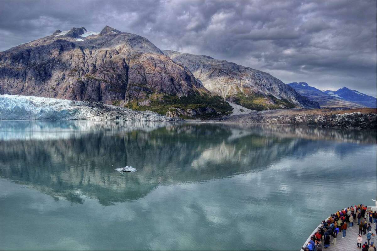 The Mendahall Glacier in Alaska as viewed from a cruise-ship.