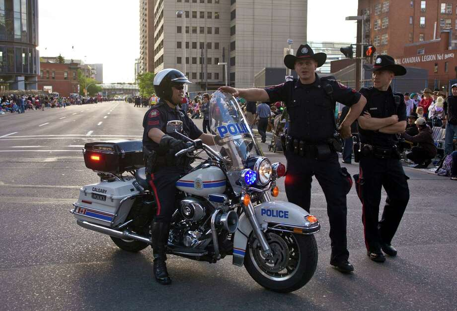 Even Canadian cops, like these ones in Canada ride Harleys. Photo: George Rose, Getty Images / 2012 George Rose
