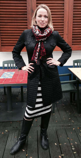 Elizabeth Ingalls loves fashion mashups, as seen in her bold black-and-white striped skirt an