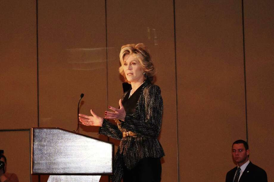 "Jane Fonda was in Greenwich March 5, 2014 as the special guest of Family Centers of Fairfield County. Fonda's new book called ""Being A Teen"" was the focus of the luncheon held at the Hyatt Regency Ballroom. As the speaker Fonda was animated as she explained the special concern for she has for adolescent issues. Were you SEEN?  Photo: Todd Tracy / Hearst Connecticut Media Group"