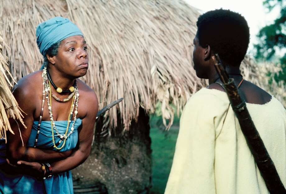 """""""We have to confront ourselves. Do we like what we see in the mirror? And, according to our light, according to our understanding, according to our courage, we will have to say yea or nay – and rise!""""The 12-hour ABC Novel for Television """"Roots"""", which aired for eight consecutive nights, remains one of TV's landmark programs. Based on Alex Haley's best-selling novel, """"Roots"""" followed 100 tumultuous years and several generations of the author's African ancestors, from the arrival of Kunta Kinte (LeVar Burton, right), the West African youth kidnapped into slavery and shipped to America, through emancipation after the Civil War. Pictured: Nyo Boto (Maya Angelou) guided her grandson, Kunta Kinte, into manhood with lessons. Photo: ABC Via Getty Images"""