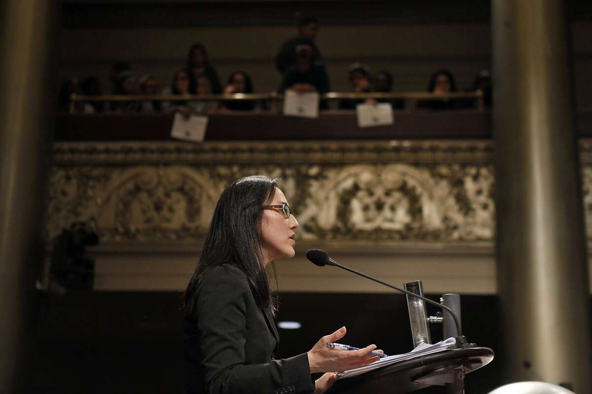 Linda Lye, a staff attorney with the ACLU, speaks to the city council in opposition to the DAC. Opponents of the Domain Awareness Center proposed for Oakland, Calif., came to voice their displeasure with the plan at the city council meeting on Tuesday, March 4, 2014.