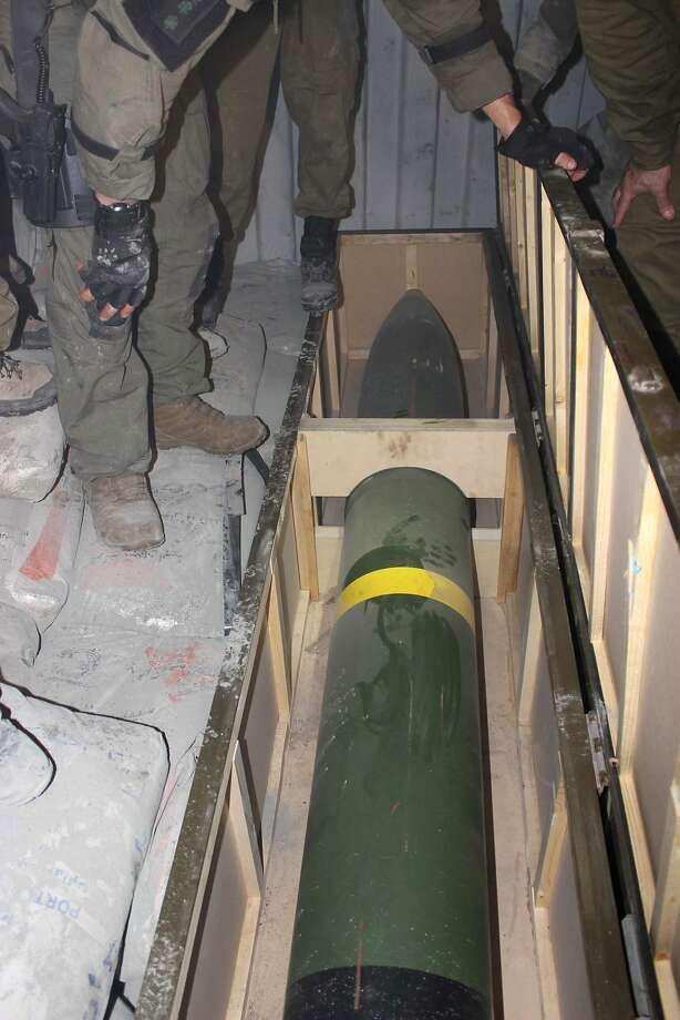 This photo released by the Israel Defense Forces shows a missile on an intercepted ship in the Red Sea Wednesday, March 5, 2014. Israeli naval forces raided a ship deep in the Red Sea early Wednesday and seized dozens of advanced rockets from Iran destined for Palestinian militants in Gaza, the military said. (AP Photo/IDF) Photo: Uncredited, Associated Press