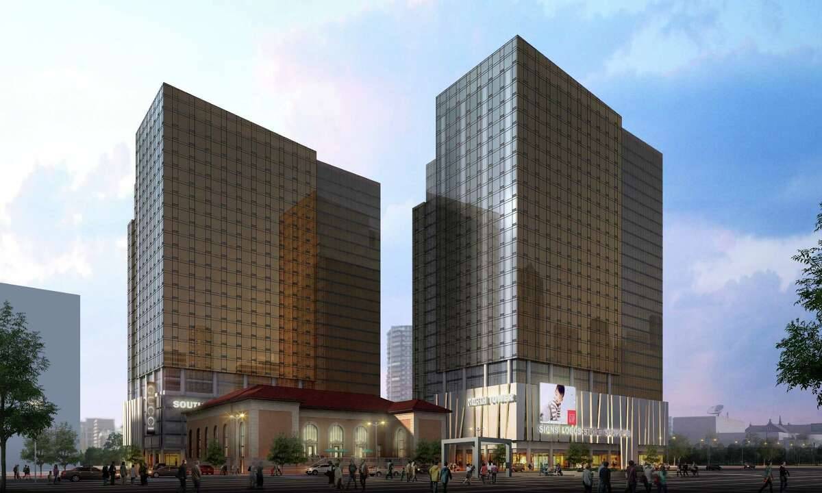 Artist's rendering of proposed luxury housing towers near the site of the historic downtown post office in Stamford.