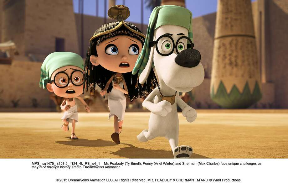 Mr. Peabody (Ty Burell), Penny (Ariel Winter) and Sherman (Max Charles) face unique challenges as they race through history. Photo: DreamWorks Animation, Twentieth Century Fox