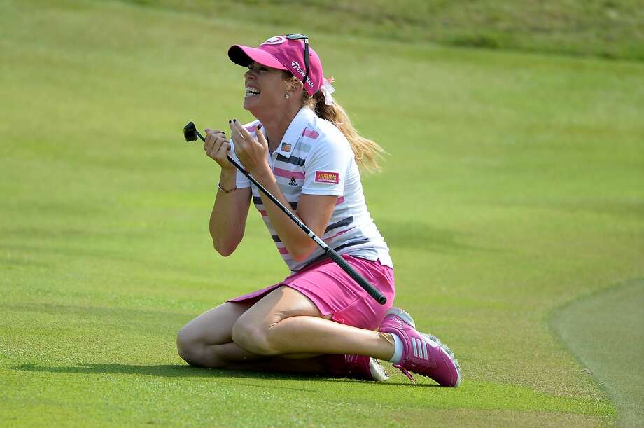 Paula Creamer didn't hold back the emotion after she won with a 75-foot putt. Photo: Ross Kinnaird, Getty Images,