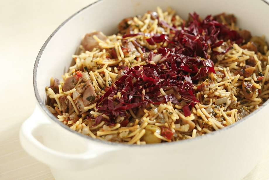 Fideos With Duck, Chestnuts & Olives Photo: Craig Lee, Special To The Chronicle