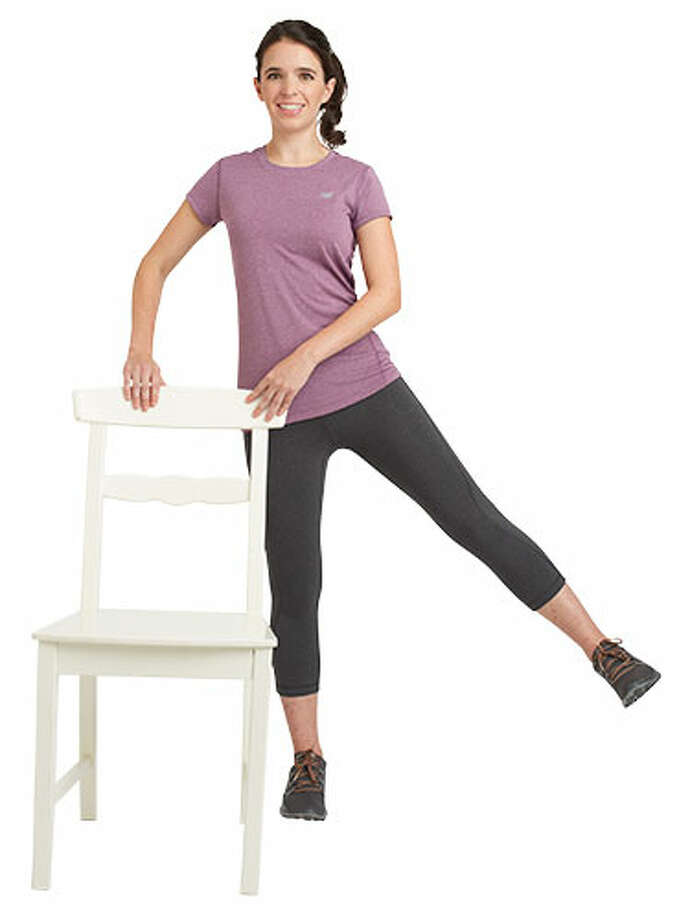 Warm Up 1 min: March in place.  1 min: Standing leg lift.  Stand with feet hip-distance apart, holding onto the back of the chair. Slowly lift left leg to the side, keeping it straight and slightly behind hips. Bring back to start. Repeat for 30 seconds, then switch legs.  Read more: 10 surprising ways marriage makes you healthier Photo: Susan Pittard/Studio D, Hair And Makeup By Aki Maekubo / Hearst Communications Inc., 2013