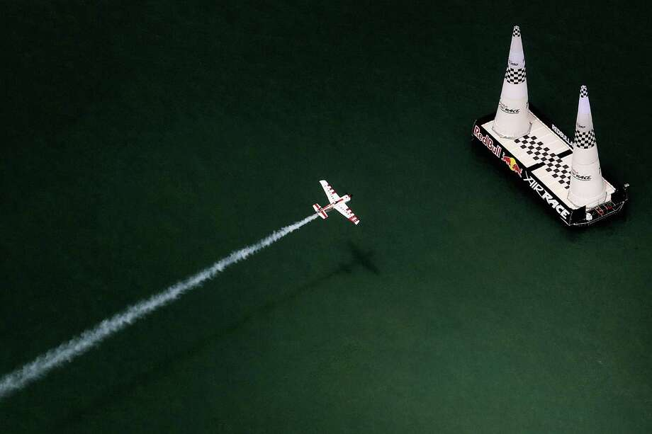 Pilots in the Red Bull Air Race World Championship reach speeds of over 400 m.p.h. while navigating cones at extremely low altitudes. Photo: Hamish Blair, Getty Images For Red Bull / 2010 Getty Images