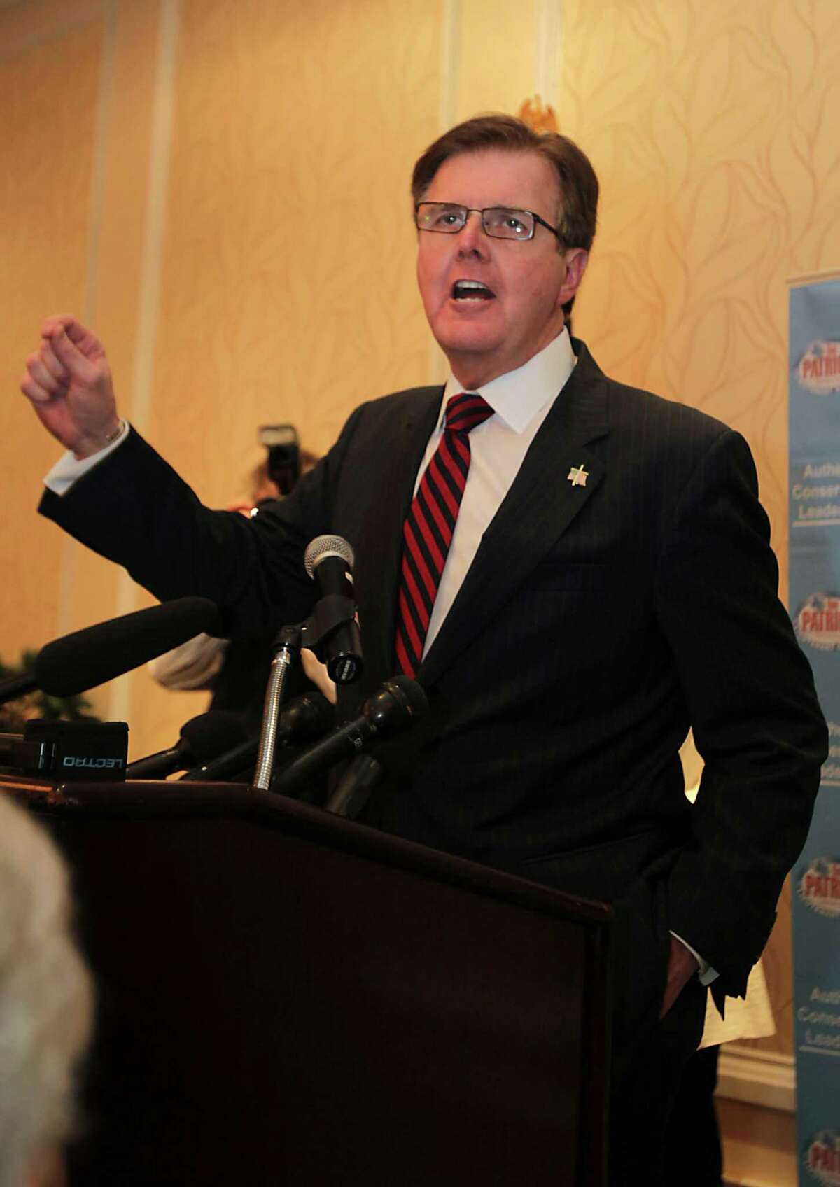 Dan Patrick, a candidate for the Republican nomination for Texas lieutenant governor, speaks during his election watch party Tuesday, March 4, 2014, in Houston. ((AP Photo/Houston Chronicle, James Nielsen) MANDATORY CREDIT