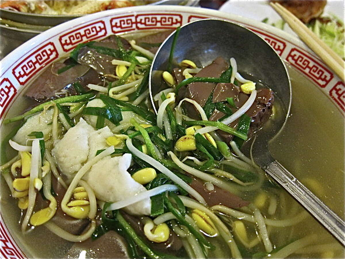 Consider Pork Jello & Big Yellow Bean Sprout Soup at Confucius Seafood as a graduate-level blood dish for adventurous eaters.