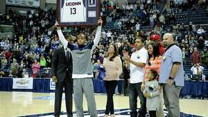 Shabazz Napier being honored on Senior Day at UConn. The Huskies are taking on Rutgers in the final home game of the season.