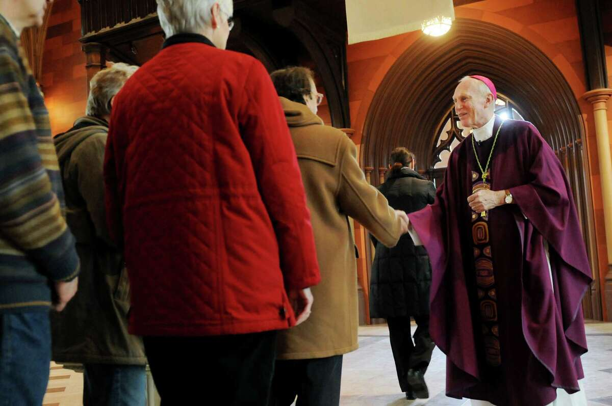 Bishop Howard Hubbard, right, greets parishioners after presiding over his final Ash Wednesday service on Wednesday, March 5, 2014, at the Cathedral of the Immaculate Conception in Albany, N.Y. (Cindy Schultz / Times Union)