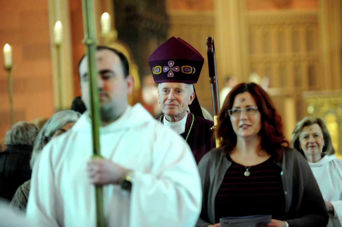 Bishop Howard Hubbard, center, processes out after presiding over Ash Wednesday service on Wednesday, March 5, 2014, at the Cathedral of the Immaculate Conception in Albany, N.Y. (Cindy Schultz / Times Union)