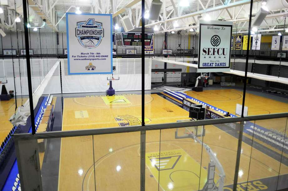 A view of the SEFCU Arena on the UAlbany campus on Wednesday, March 5, 2014, in Albany, N.Y.  The America East basketball tournament will be played at the arena this weekend.  (Paul Buckowski / Times Union) Photo: Paul Buckowski / 00026021A