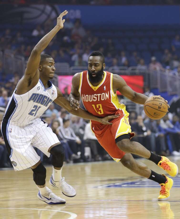 March 5: Rockets 101, Magic 89  James Harden (13) drives around Maurice Harkless (21). Photo: John Raoux, Associated Press