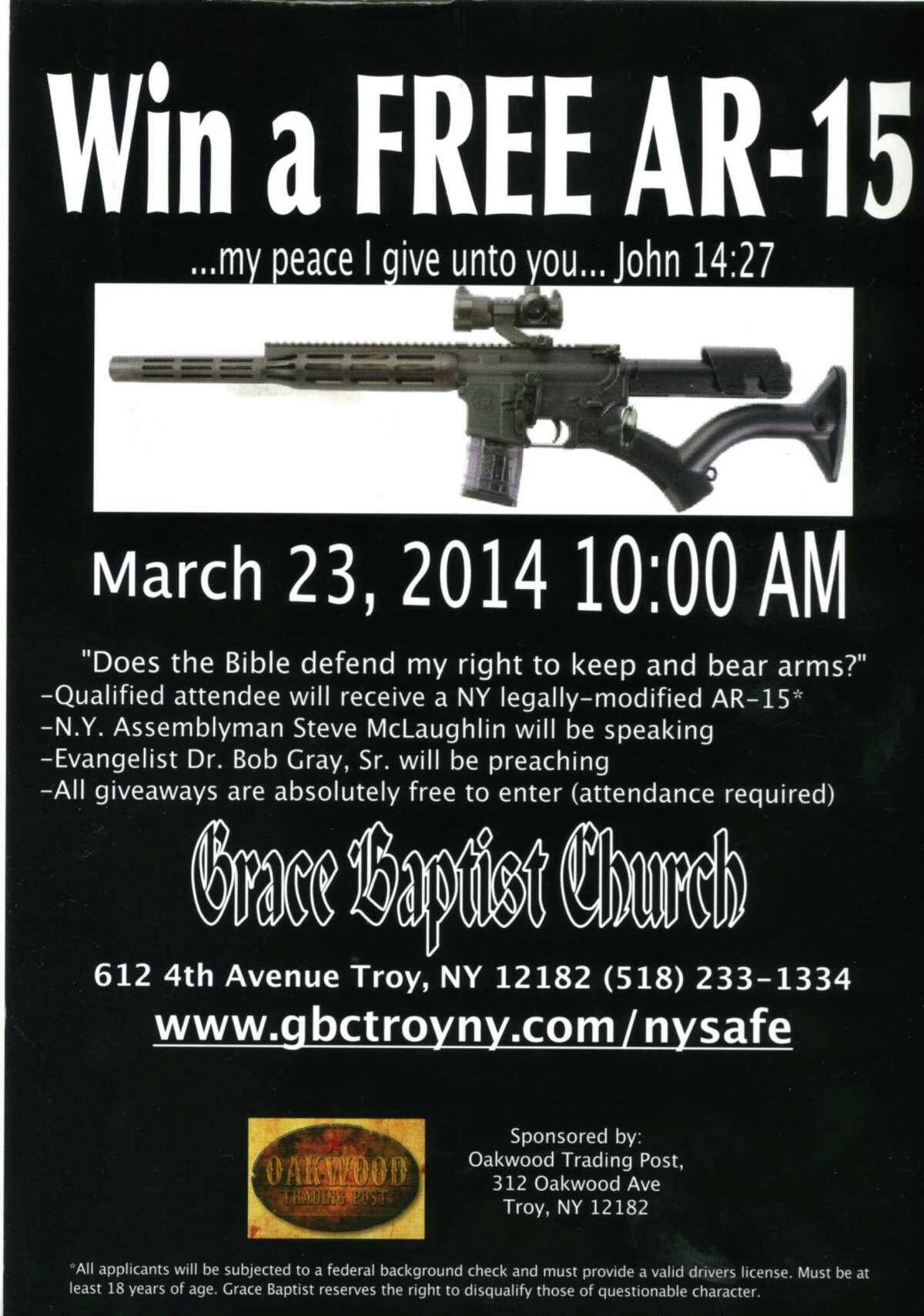 Pastor John Koletas of the Grace Baptist Church in Troy plans to give away an AR-15 assault rifle at an upcoming service. This flier promises a free AR-15 giveway to people who attend the March 23 service at Grace Baptist on Fourth Avenue in Troy.