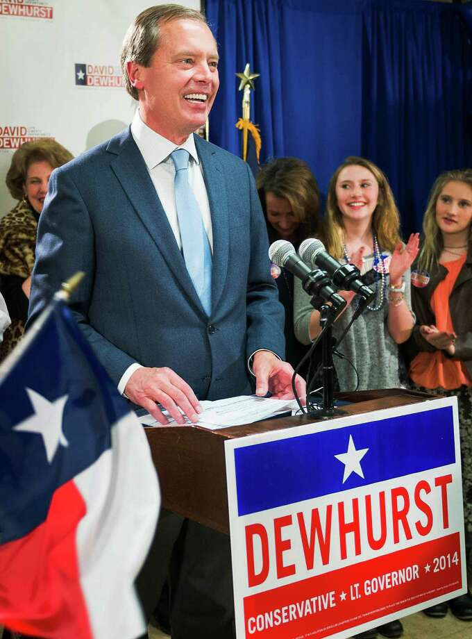 Texas lieutenant governor candidate Lt. Gov. David Dewhurst addresses supporters during an election night party at his Houston campaign headquarters on Tuesday, March 4, 2014, in Houston.  Dewhurst faces three Republican challengers for re-election in the primary. ( Smiley N. Pool / Houston Chronicle ) Photo: Smiley N. Pool, Staff / © 2014  Houston Chronicle