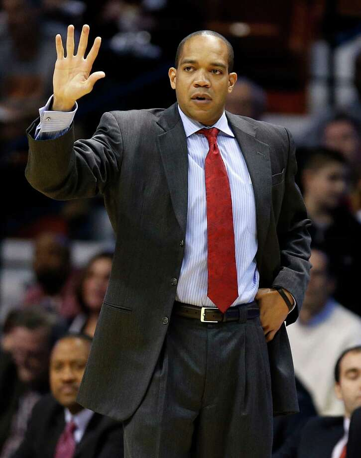 Fairfield head coach Sydney Johnson during the first half of an NCAA college basketball game against Louisville in the semifinal round of the Basketball Hall of Fame Tip-Off tournament at Mohegan Sun Arena in Uncasville, Conn., Saturday, Nov. 23, 2013.  (AP Photo/Michael Dwyer) Photo: Michael Dwyer, Associated Press / Associated Press