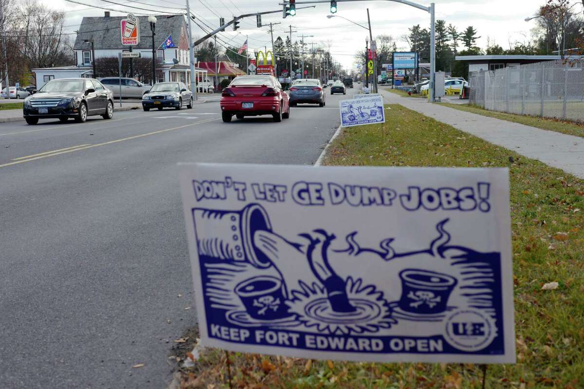 A view of a sign outside of the General Electric Fort Edward plant on Tuesday, Nov. 19, 2013. (Paul Buckowski / Times Union)