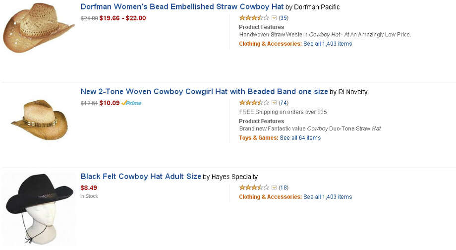 Cowboy hats, variety of prices and styles on Amazon.com Photo: Amazon.com
