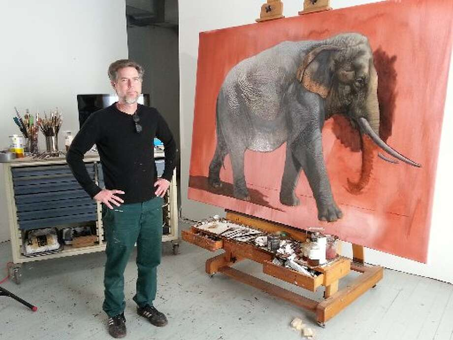 Lloyd Walsh in his studio, in front of his latest commission. Photo: Emily Spicer, San Antonio Express-News