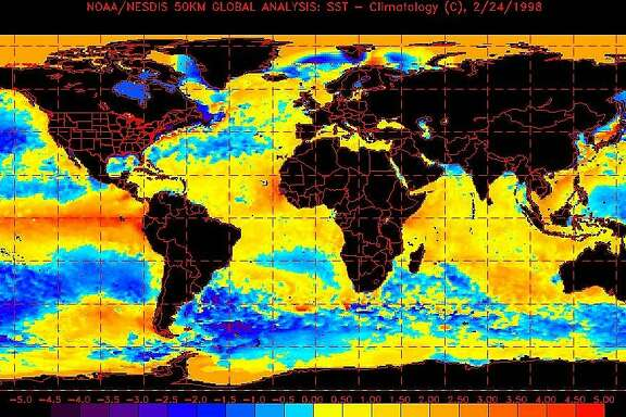 This is a map of sea water temperatures indicating the El Nino effect, the inexplicable warming of the Pacific Ocean off the coast of Ecuador that has upset weather patterns for much of the world. El Nino has fueled killer storms, waves and tornadoes in California and the South, and has kept Arctic air from pushing into northern parts of the United States. (AP Photo/NOAA)