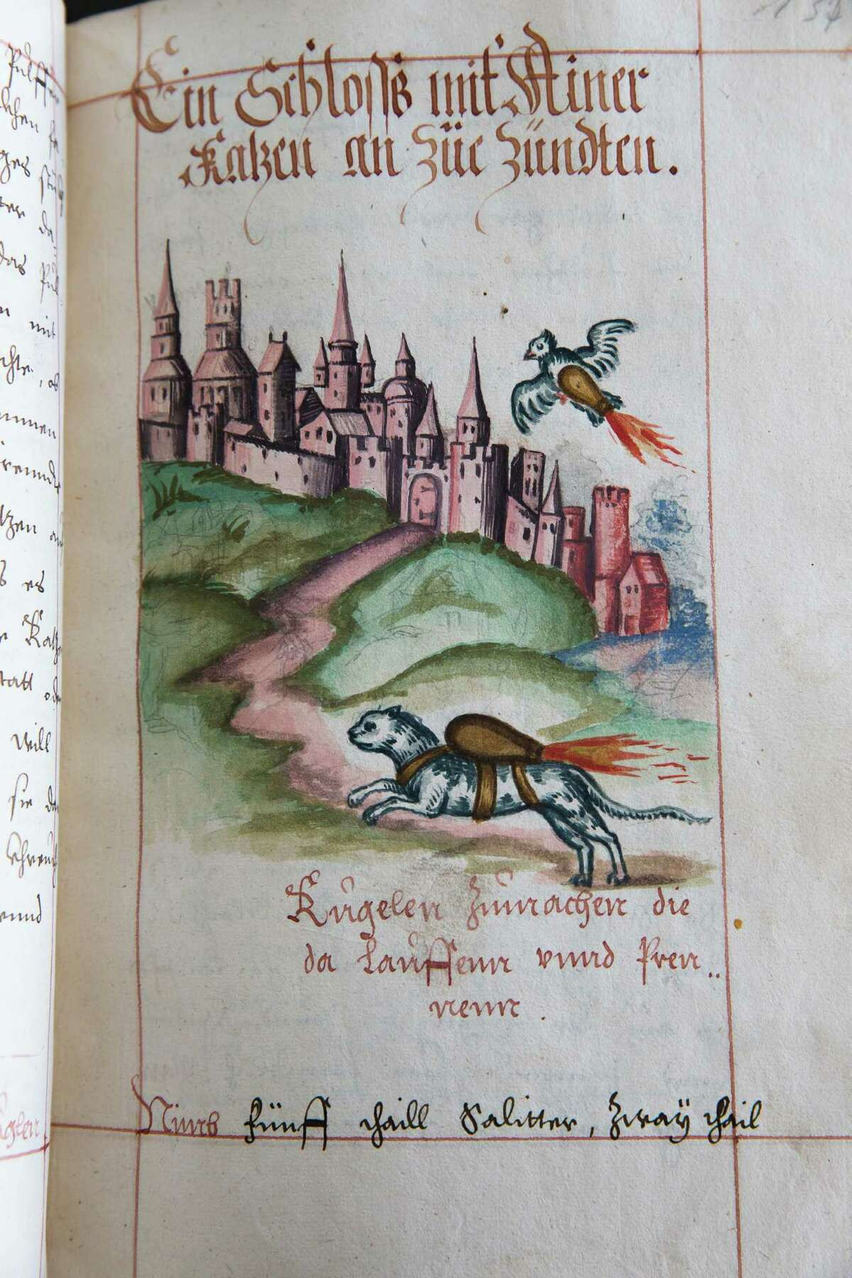 In this Tuesday, March 4, 2014 photo is an illustration from a manual by 16th century artillery master Franz Helm at the University of Pennsylvania library in Philadelphia. The manual on artillery and siege warfare depicts a cat and dove strapped with bombs to