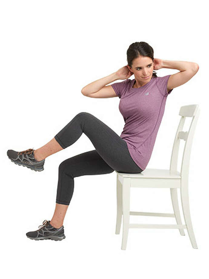 Seated Crunch 1 min: Sit tall on the edge of the chair with back straight and hands placed behind head. Lift left knee and twist torso to bring right elbow to left knee. Return to start and repeat on the other side, bringing right knee toward left elbow. Continue switching sides.  4 min: Repeat all four moves  Leg lifts, chair dips, plié squats and seated crunches.  1 min: Cooldown  Stand up and stretch arms overhead as you lean side to side and take deep breaths.  SOURCES: Peter Magyari, PhD, associate professor of exercise physiology, Brooks College of Health, University of North Florida. Cindy Whitmarsh, ACE-certified fitness instructor, star of the UFit DVD series. Moves demonstrated by health editor Rachel Morris. Photo: Susan Pittard/Studio D / Hearst Communications Inc., 2013