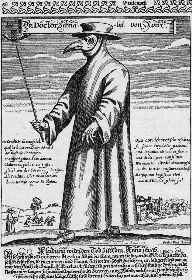 Plague doctors used to wear this horrifying outfit in the 1600s. The beak mask held spices thought to purify air, and the wand was used to avoid touching patients and give them nightmares forever. Photo: Hulton Archive, Getty Images / Hulton Archive
