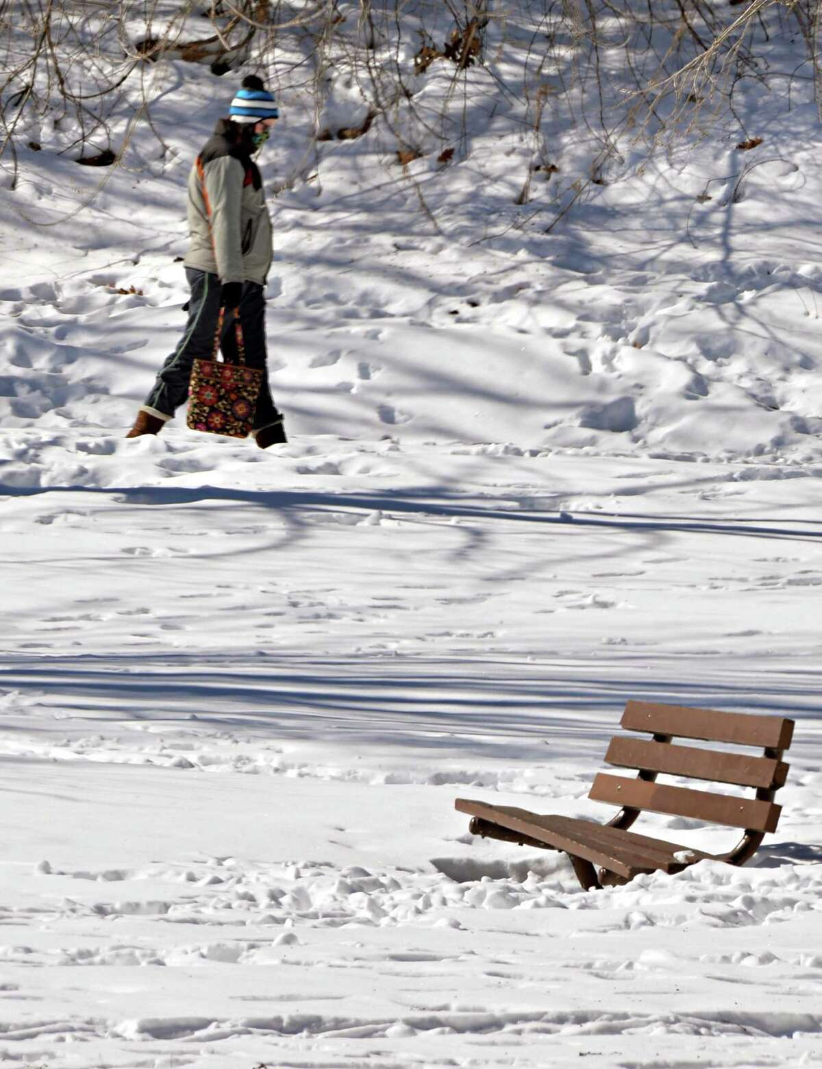 A solitary figure walks through a snow-covered Congress Park Thursday March 6, 2014, in Saratoga Springs, NY. (John Carl D'Annibale / Times Union)
