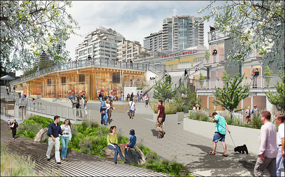 The proposed Pike Place Market renovation is shown in this artist's depiction. Photo: Pike Place Market Development Authority