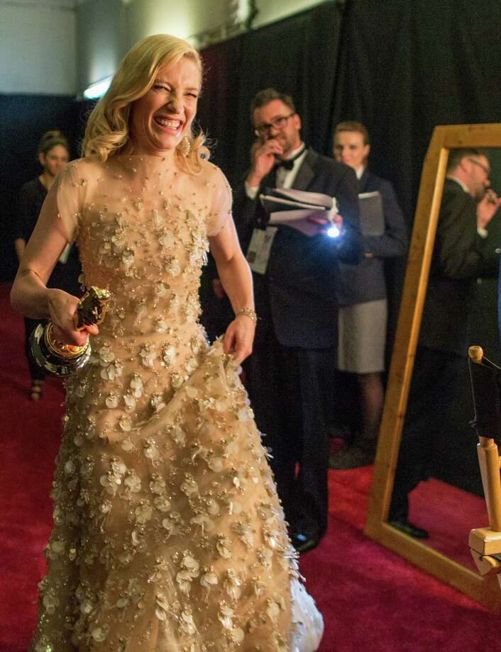 Actress Cate Blanchett exults backstage after winning the award for best actress in a leading role during the Oscars. She chided industry colleagues who cling to the idea that female films with women at the center are niche experiences. Photo: Christopher Polk / Getty Images / 2014 Getty Images